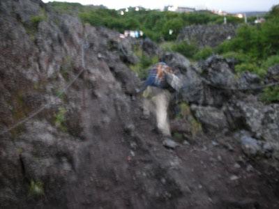 七合目岩尾根の急登の画像